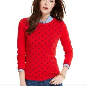 Plus XXL Tommy H Red/Navy Polka Dots Crew Sweater
